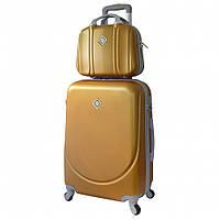 Комплект чемодан Bonro Smile (небольшой) + кейс Bonro Smile (средний) золотой, фото 1