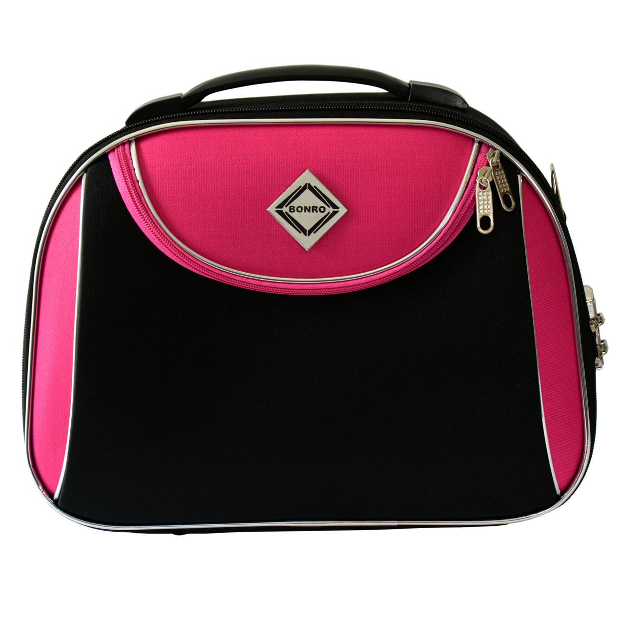 Сумка кейс саквояж Bonro Style (небольшой) черно-розовый