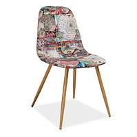 Мягкий стул Signal Citi с разноцветной тканью карта на металлических ножках для кухни в стиле лофт