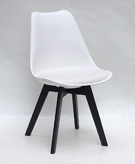 Стул пластик Milan BK (Милан) на черных деревянных ножках с мягкой сидушкой,