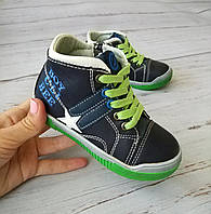 Обувь для мальчиков, детские ботики синие, Clibee Польша 22р. по стельке 14,5 см
