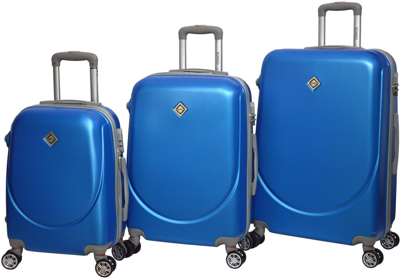 Чемодан Bonro Smile с двойными колесами набор 3 шт. голубой