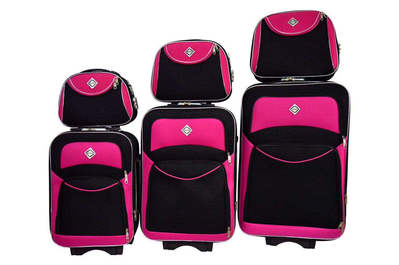 Набор чемоданов и кейс 4в1 Bonro Style черно-розовый