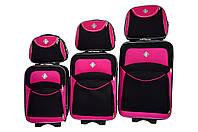 Набор чемоданов и кейс 4в1 Bonro Style черно-розовый, фото 1