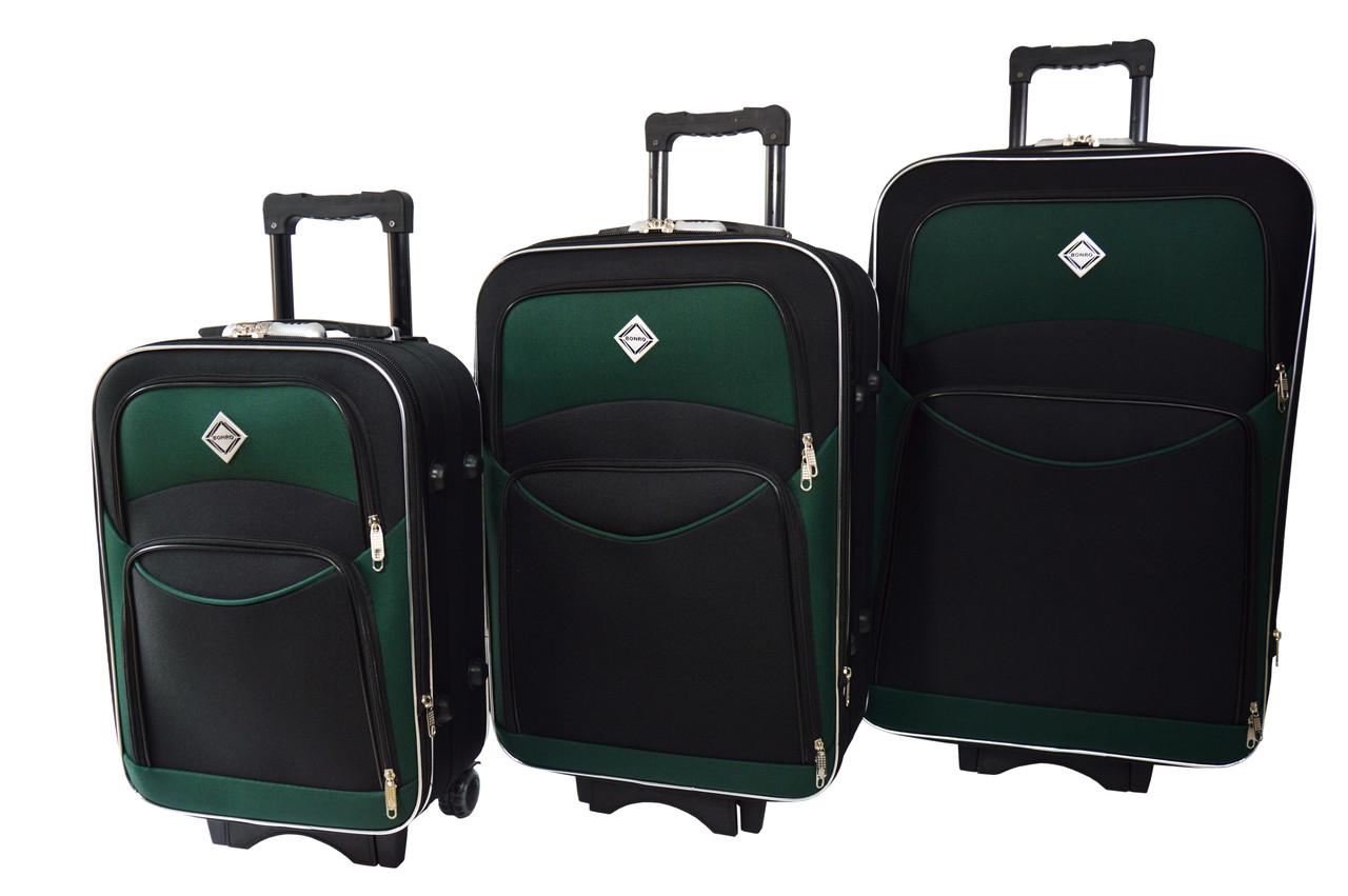Чемодан Bonro Style набор 3 шт. черно-зеленый