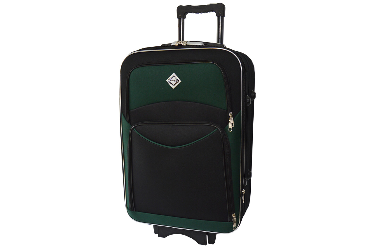 Чемодан Bonro Style (небольшой) черно-зеленый