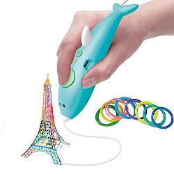 Аккумуляторная 3D ручка 9903 дельфин с трафаретами для детского творчества