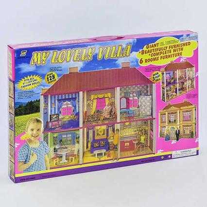 Домик для кукол 6983 (6) 2 этажа, 128 деталей, мебель, в коробке