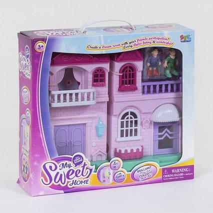 Домик кукольный 16589 (12) 2 этажа, 2 фигурки персонажей, свет, звук, на батарейках, в коробке
