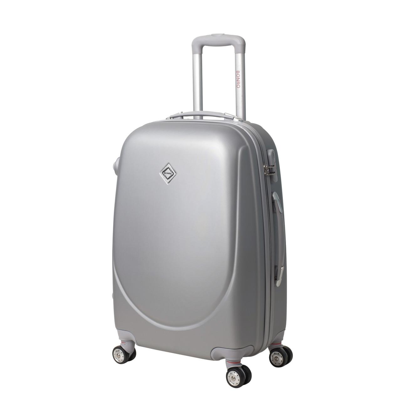 Чемодан Bonro Smile с двойными колесами (средний) серебряный