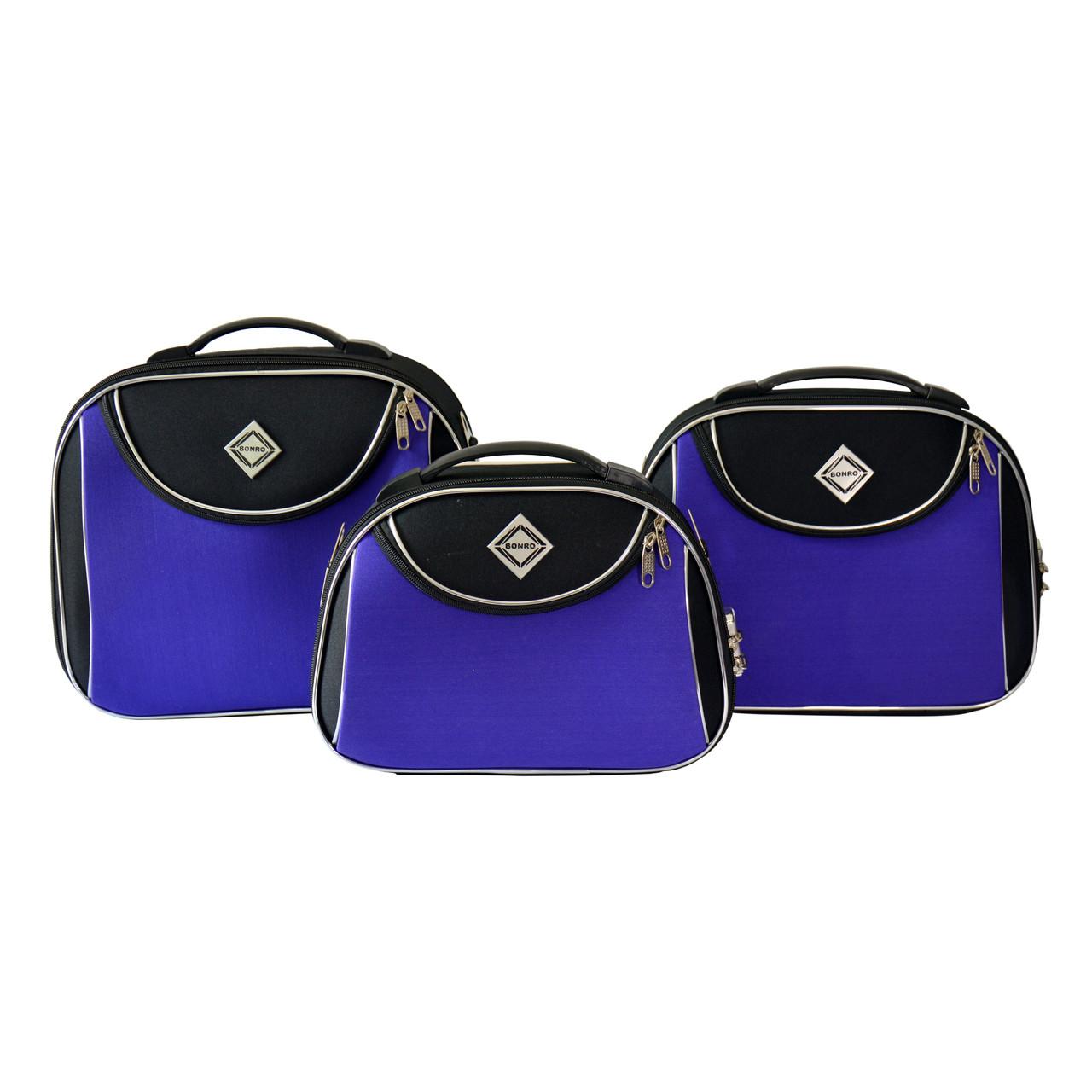 Сумка кейс саквояж 3в1 Bonro Style черно-фиолетовый