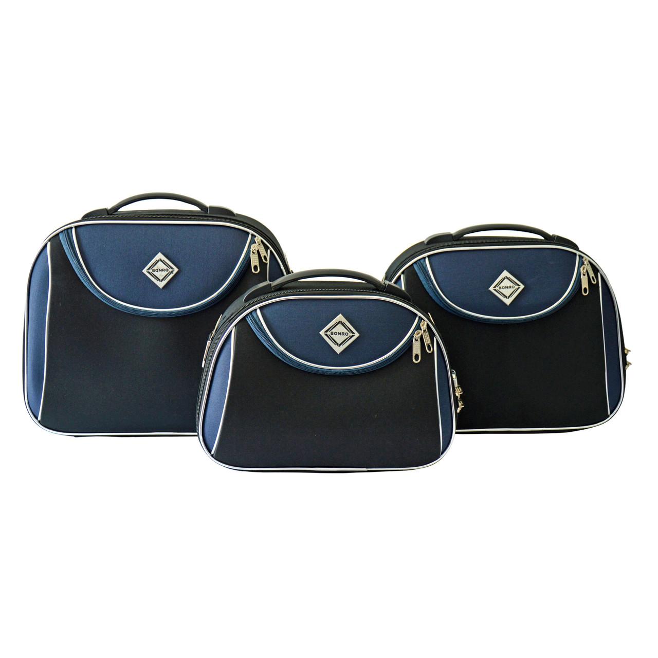 Сумка кейс саквояж 3в1 Bonro Style черно-т. синий