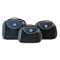 Сумка кейс саквояж 3в1 Bonro Style черно-т. синий, фото 1