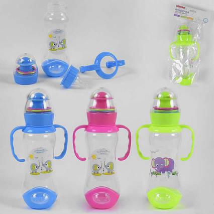 """Бутылочка для кормления 43879 (120) с силиконовой соской, """"BIMBO"""", 260 мл, 3 цвета, пластик, 1шт в кульке"""