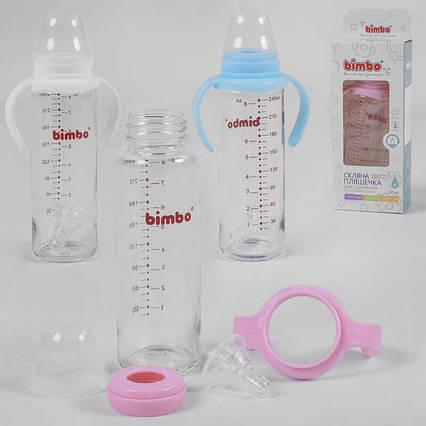 """Бутылочка стеклянная 33812 (48) с силиконовой соской, """"BIMBO"""", 240 мл, 3 цвета, 1шт в коробке"""