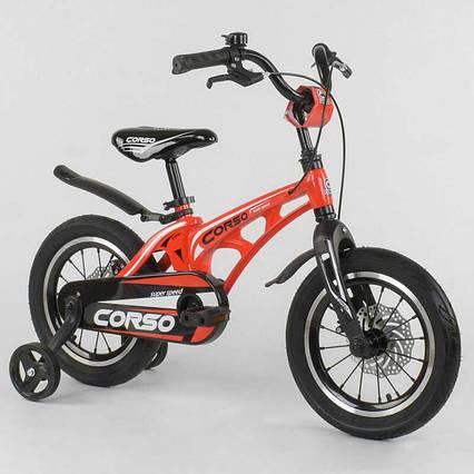 """Велосипед 14"""" дюймов 2-х колёсный  """"CORSO"""" MG-14 S 615 (1) КРАСНЫЙ, МАГНИЕВАЯ РАМА, АЛЮМИНИЕВЫЕ ДВОЙНЫЕ ДИСКИ"""