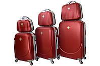 Набор чемоданов и кейсов 6в1 Bonro Smile бордовый, фото 1