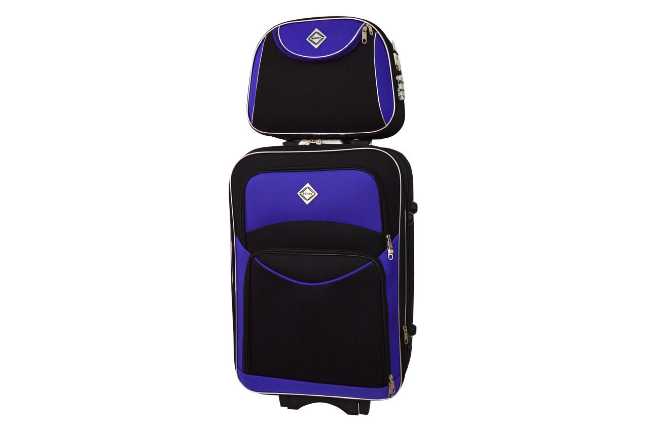 Комплект валіза + кейс Bonro Style (великий) чорно-фіолетовий т.