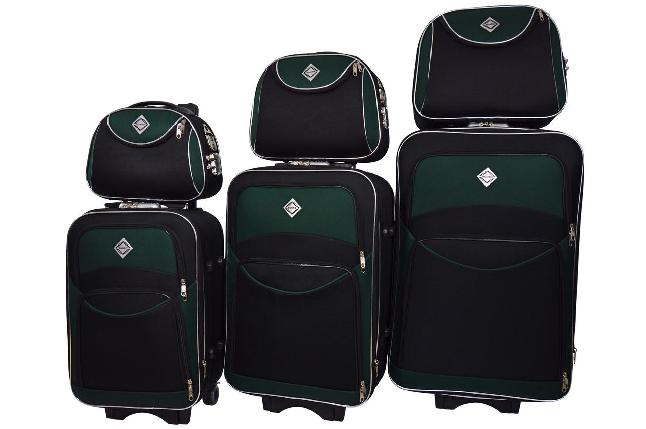 Набор чемоданов и кейс 4в1 Bonro Style черно-зеленый