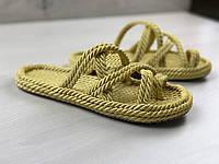 Кроссовки пляжные золотого цвета, ручная работа. Материал, мягкая верёвка. Код товара 4S-1197