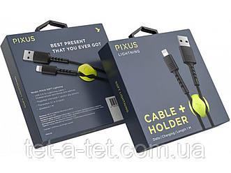 Дата кабель Pixus Soft Lightninig 1m 2.1 A Black з кріпленням