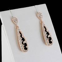 Очаровательные серьги с кристаллами Swarovski, покрытые золотом 0398
