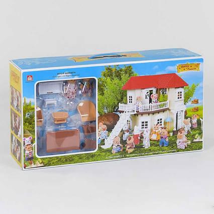 """Домик """"Счастливая семья"""" 012-01 (6) 2 этажа, 2 флоксовых героя, мебель, свет, в коробке"""