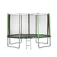 Батут Atleto 374 см с двойными ногами с сеткой зеленый (2 места), фото 1