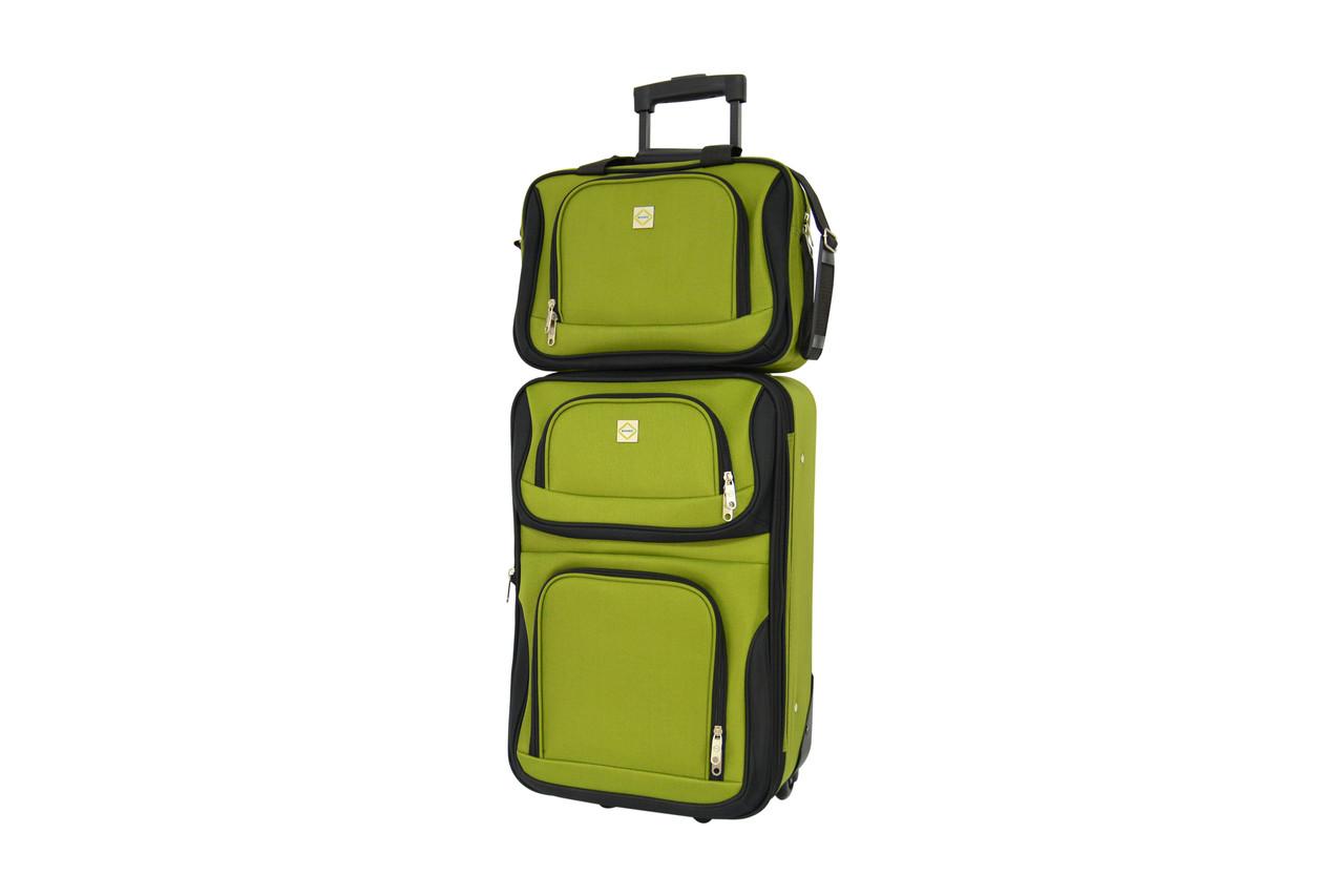 Комплект валіза + сумка Bonro Best середній зелений