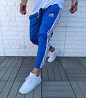 Мужские спортивные штаны зауженные синего цвета с лампасами ADIDAS адидас весна спортивная одежда M