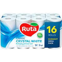Туалетная бумага Ruta Classic белая 2-х слойная, 16 шт.