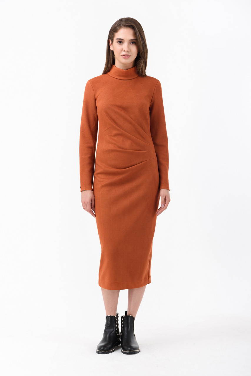 Женское осеннее платье рыжее по фигуре миди Modna KAZKA 42 размера
