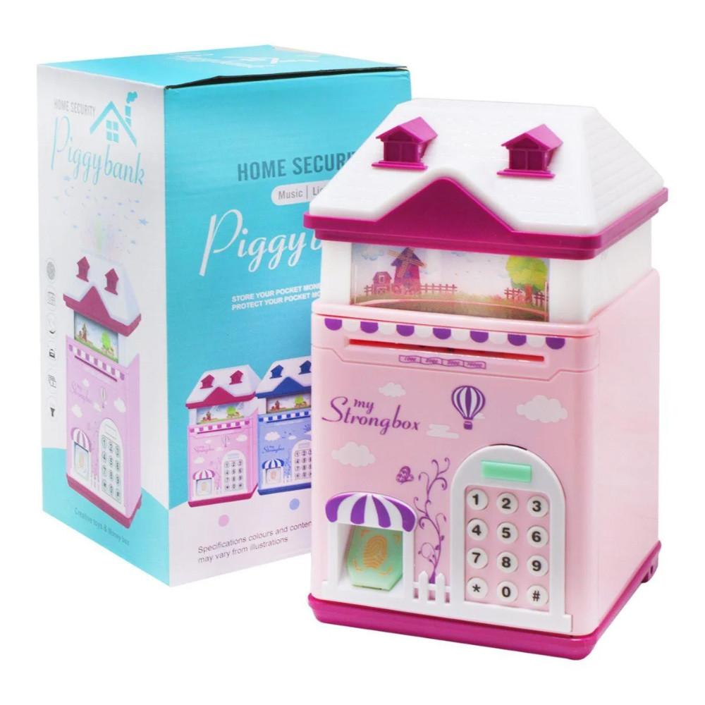 """Сейф детский копилка с кодовым замком отпечатком пальца """"Волшебный Домик"""", голубой и розовый"""