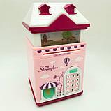 """Сейф детский копилка с кодовым замком отпечатком пальца """"Волшебный Домик"""", голубой и розовый, фото 2"""