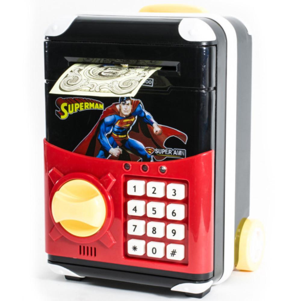 Сейф детский с электронным кодовым замком, для детей - Супермен - копилка детская
