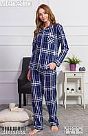 Стильная женская пижама в клетку с брюками Vienetta 0050570509 синий