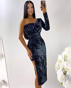 Стильное платье асимметричного кроя из пайетки 42-44 р