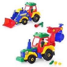 Конструктор 1233 (24шт) трактор-экскаватор,фигурка,отвертка,2 вида, 35-20см, в кульке, 38-30-12см