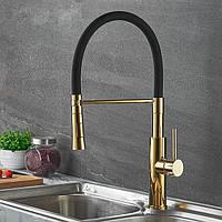 Смеситель для кухни SANTEP 589-7 Черный с золотом