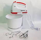 Миксер ручной c чашей 2 л 7 скоростей насадки для взбивания, замеса теста RAINBERG RB-1005 500 Вт, фото 6