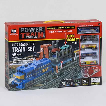 Железная дорога 2081 (12/2) свет, 68 элементов, длина путей 762 см, 4 машинки, в коробке