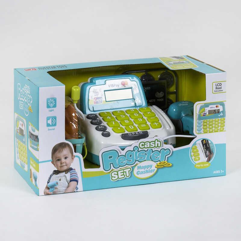 Кассовый аппарат 35532 А (12) свет, звук, микрофон, сканер, корзинка с продуктами, в коробке