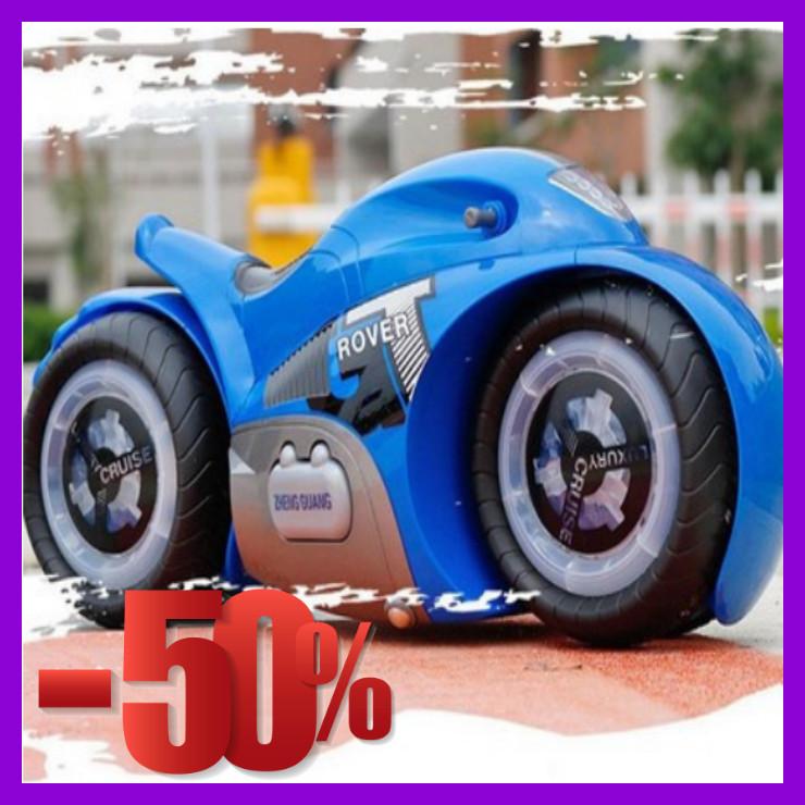 Радиоуправляемый мотоцикл Drift motorcycle mist spray car Синий Мотоцикл-перевертыш.
