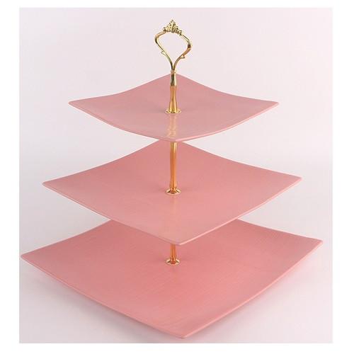 "Фруктовница фарфор 3 яруса ""Pink silk"" 6""/8""/10"" (15/20/25.5см) MC3686 (12шт)"