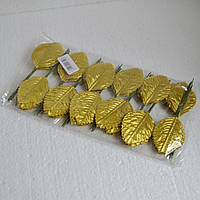 Листья розы искусственные (золото)