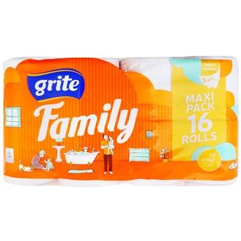 Туалетная бумага белая Grite Family Decor 150 отрывов 3 слоя 16 рулонов