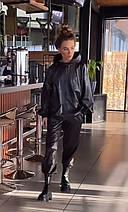 Стильний жіночий костюм з худі з екошкіри 42-46 р, фото 2