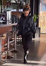 Стильний жіночий костюм з худі з екошкіри 42-46 р, фото 3