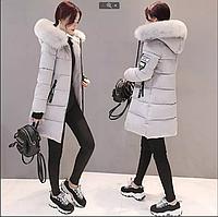 Женская зимняя куртка пуховик принт Disney с капюшоном манжетами декоративный съёмный мех р.48-50, фото 1