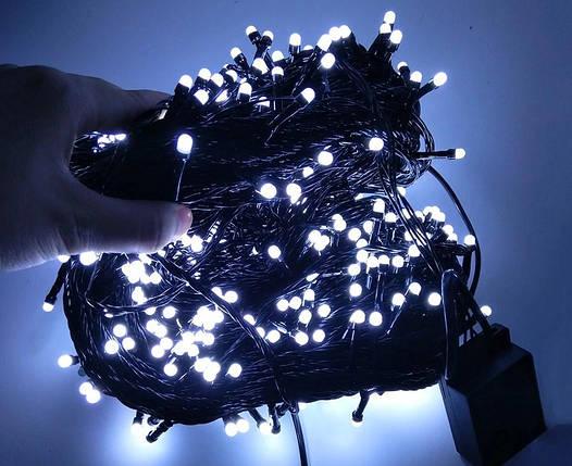 Гирлянда холодный белый свет, Гирлянда нить черный провод, Светодиодная гирлянда 18м,, фото 2